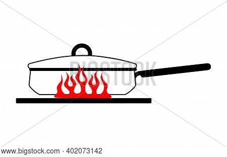 Cartoon Stewpan With A Lid And A Long Handle On A Red Gas Stove. Vector Image Of A Kitchen Pot On Fi