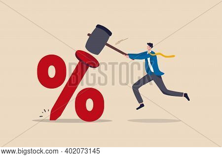 Federal Reserve Low Interest Rate Or Central Bank With Long Time Zero Percent Interest Rate Until Ec