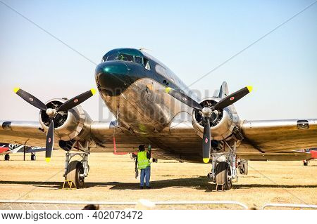 Johannesburg, South Africa - May 22, 2011: Old-school Vintage Propeller Aircraft Parked On Airport T