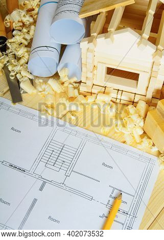 Planning Of Repair Of The House. Joiners Works. Drawings For Building, Small Wooden House And Workin
