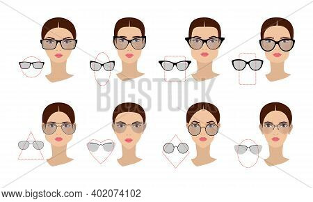 Female Glasses Shapes In Accordance With The Shape Of The Face. Eight Face Shapes With Options For S