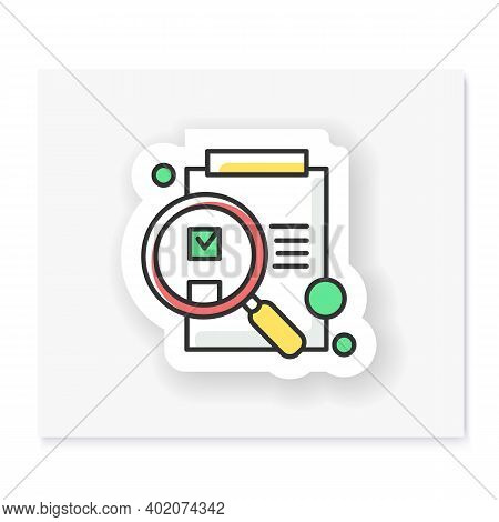 Idea Evaluation Patch. Paper On Clipboard Under Magnifying Glass Badge For Designs. Custom Sticker.