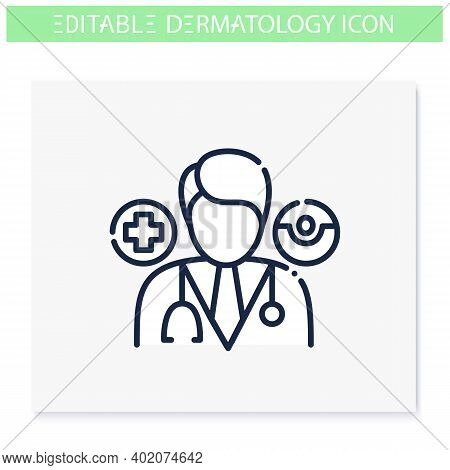 Dermatologist Line Icon. Skincare, Cosmetology Doctor. Skin Problems, Dermatologic Diseases Treatmen