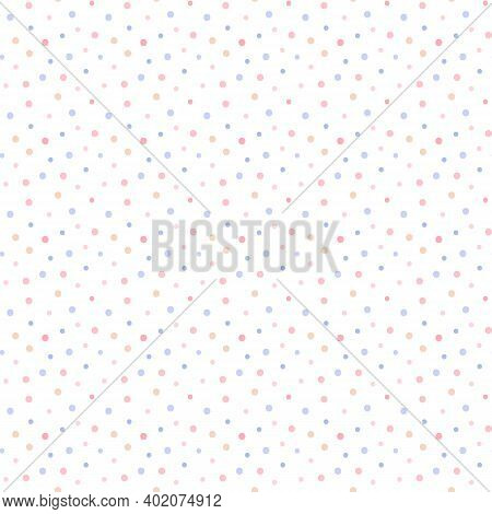 Cute Soft Pastel Colors Dots, Confetti Vector Seamless Pattern Background.