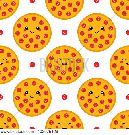 Cute Smiling Cartoon Style Round Pepperoni Pizza Characters Vector Seamless Pattern Background.