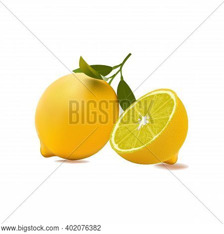 Lemons On White Background. Pieces Of Lemons And Whole Lemons, With Little Shadow.