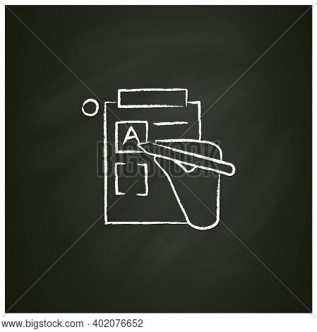 Version Control Chalk Icon. Sketch Of Hand, Editing Product Version Form. Concept Of Creative Produc