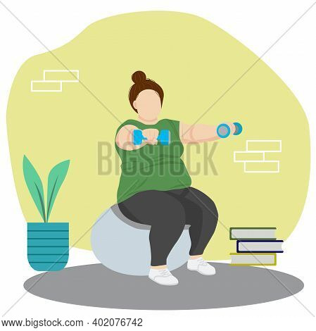 Plump Woman Exercising At Home Sports Motivation