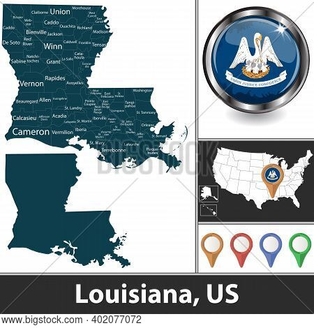Louisiana State With Counties And Location On American Map. Vector Image