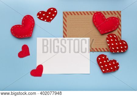 Valentines Day Background. Red Hearts, Paper Blank On Pastel Blue Background. Love Letter Concept, C