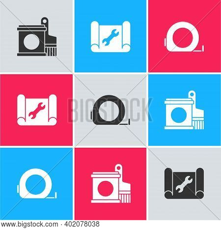 Set Paint Bucket And Brush, Graphing Paper Wrench And Roulette Construction Icon. Vector