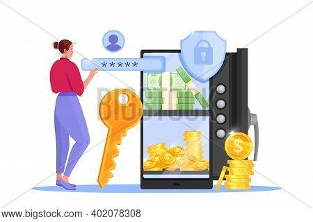 Online Payment, Internet Storage Or Transfer Vector Illustration With Safe Door, Smartphone, Woman,