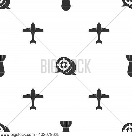 Set Aviation Bomb, Target Sport And Jet Fighter On Seamless Pattern. Vector