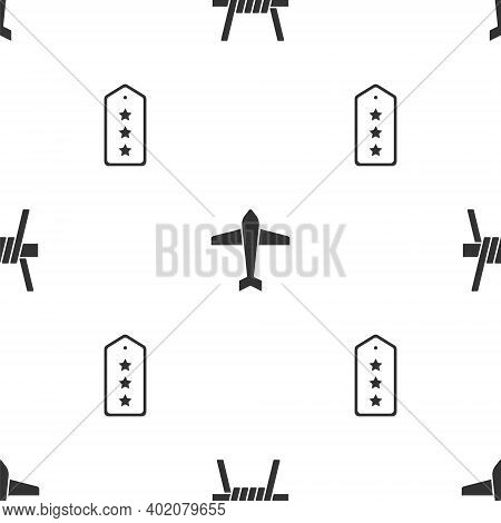 Set Barbed Wire, Jet Fighter And Military Rank On Seamless Pattern. Vector