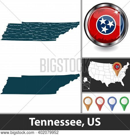 Tennessee State With Counties And Location On American Map. Vector Image