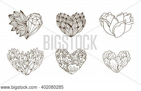 Vector Contour Set Of Stylized Hearts With Plants, Feathers And Crystals.