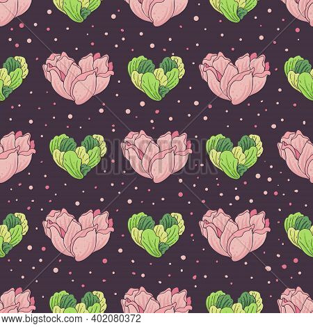 Seamless Pattern With Flowers And Greens In The Shape Of Hearts On A Purple Background. Vector Illus