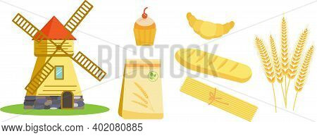 Illustration Mill Collection Of Elements Wheat Spikelets And Grain Products.