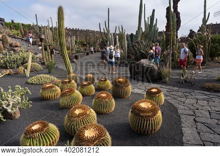 Lanzarote, Spain - August 7,2018:people Strolling Inside The Famous Cactus Garden In Lanzarote Durin