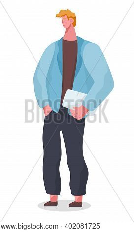 Businessman Standing At Full Height Holding A Tablet Pc In His Hands Vector Illustration Isolated On