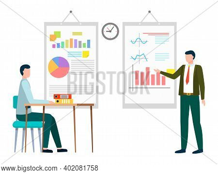 Boss Explaining Details Of Business Project To Employee. Whiteboards With Charts And Diagrams. Busin