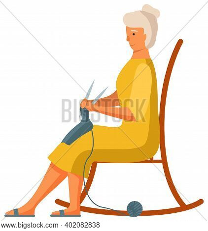 Elderly Woman Is Knitting A Scarf Isolated On White Background. Person Works With Threads. Female Ch