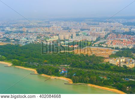 Aerial View Of Singapore Seashore Architecture In Sunny Day