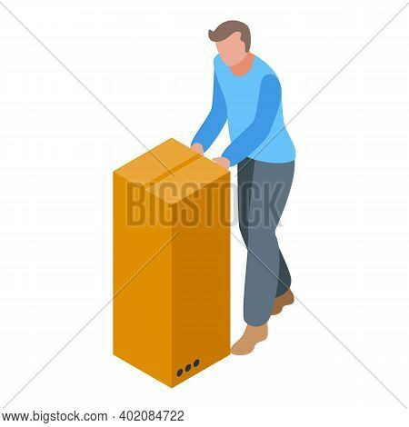 Move Box Effort Icon. Isometric Of Move Box Effort Vector Icon For Web Design Isolated On White Back