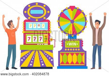 People Winners Playing Game Machine And Roulette Equipment. Players Males In Casino, 777 Icons And F