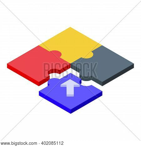 Puzzle Effort Icon. Isometric Of Puzzle Effort Vector Icon For Web Design Isolated On White Backgrou