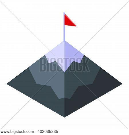 Mountain Target Effort Icon. Isometric Of Mountain Target Effort Vector Icon For Web Design Isolated