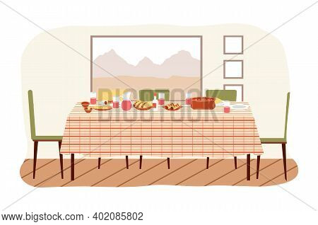 The Dining Room Design Flat Vector Illustration. Dining Table With Food In Mexican Style, Drinks And