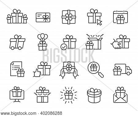 Gifts Icons Set. Collection Of Simple Linear Web Icons Such Gift Set, Gift Giving And Delivery, Gift