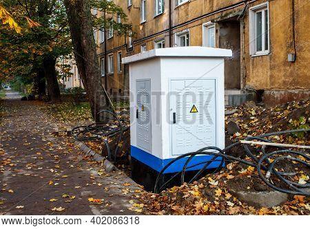 New Modern Metal Transformer Box On City Street