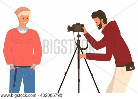 Photographer Taking A Picture Of A Young Man In Casual Clothes And A Cap, Flat Vector Illustration.
