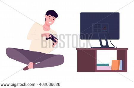 Guy Plays Video Games. Young Man Gaming With Gamepad Controller, Holding Joystick In Hands. Flat Des