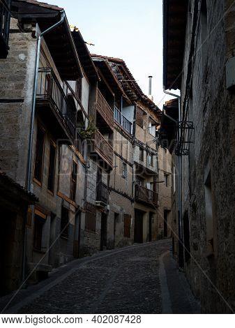 Old Narrow Cobblestone Street Lane Alley In Historical Village Town Frias Las Merindades Burgos Cast