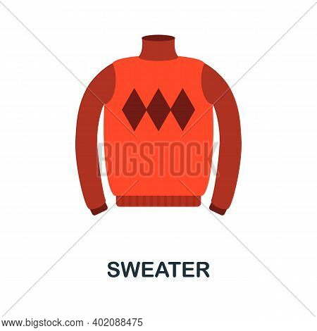 Sweater Flat Icon. Color Simple Element From Clothes Collection. Creative Sweater Icon For Web Desig