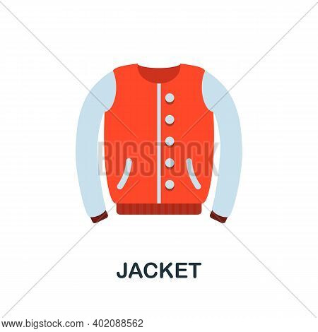 Jacket Flat Icon. Color Simple Element From Clothes Collection. Creative Jacket Icon For Web Design,