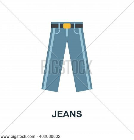 Jeans Flat Icon. Color Simple Element From Clothes Collection. Creative Jeans Icon For Web Design, T
