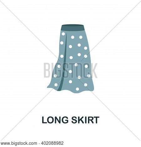 Long Skirt Flat Icon. Color Simple Element From Clothes Collection. Creative Long Skirt Icon For Web