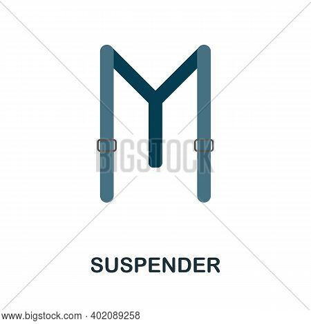 Suspender Flat Icon. Color Simple Element From Clothes Collection. Creative Suspender Icon For Web D