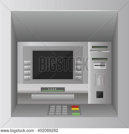 Atm Bank Cash Machine 3d Realistic Front View, Atm Street Kiosk, Bankomat Service