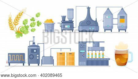 Cartoon Info Education Poster With Manufacture Automated Processing Line, Beverage Industry Technolo