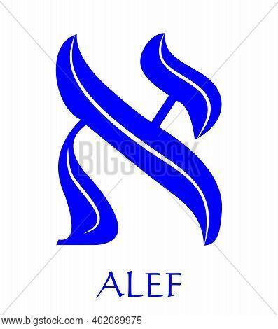 Hebrew Alphabet - Letter Alef, Gematria Bulls Head Symbol, Numeric Value 1, Blue Font Decorated With