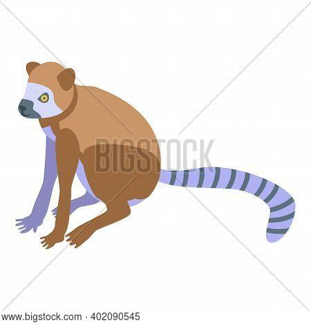 Monkey Lemur Icon. Isometric Of Monkey Lemur Vector Icon For Web Design Isolated On White Background