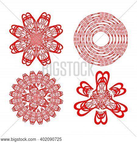 Set Of Four Decorative Doodle Patterns In Red Color, Circural Vintage Ornament. Textile Ornament Ele