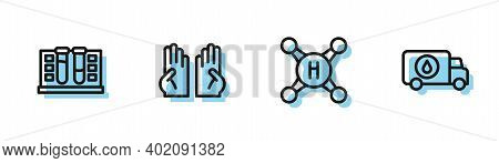 Set Line Water Tap, Test Tube With Water Drop, Rubber Gloves And Plumber Service Car Icon. Vector