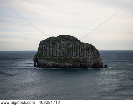 Aketx Aqueche Akatxe Uhartea Akatz Stone Rock Islet Island Near Gaztelugatxe Bermeo Bay Of Biscay Ba