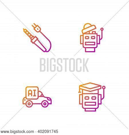 Set Line Robot, Autonomous Smart Car, Soldering Iron And . Gradient Color Icons. Vector